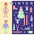 Set of winter children clothes vector image vector image