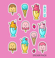 set stickers with ice cream and berries vector image