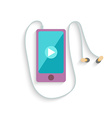 Smartphone with Headphones and Play sign Flat vector image vector image