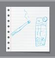 smoking cigarette a children39s sketch vector image