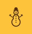 snowman icon new year and xmas christmas winter vector image vector image