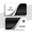 stylish black and white wavy business card design vector image vector image