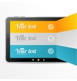 text boxes infographics on tablet like ipad vector image vector image