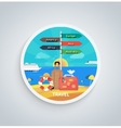 Traveling and Planning Vacation on Round Banner vector image vector image