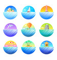 tropical island round colorful icons set vector image