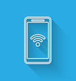 white smartphone with free wi-fi wireless vector image vector image