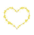 Yellow Bush Willow Flowers in A Heart Shape vector image vector image