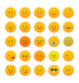 yellow sun emoticons isolated set vector image