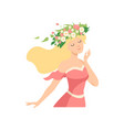 young beautiful woman with flower wreath in her vector image vector image