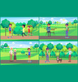 young teenagers resting in park together vector image vector image