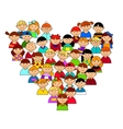 Heart shape with boys and girls vector image