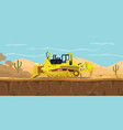 a bulldozer heavy equipment on desert with cactus vector image