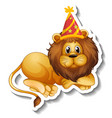 a sticker template with male lion wearing party vector image
