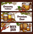 beer drinks and snack food sketch banner design vector image vector image