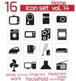 black home appliances icon set vector image