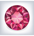 Brilliant shiny ruby on grey background vector image vector image