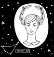 capricorn woman with zodiac sign vector image vector image