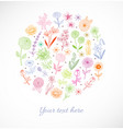 card with colored doodle sketch flowers on white vector image