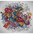 Cartoon hand-drawn doodles Musical vector image vector image