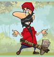 cartoon shocked lumberjack with a stone axe vector image vector image