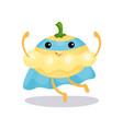 cartoon superhero pattypan squash character in vector image
