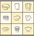 chef hats of all designs monochrome sketches set vector image vector image