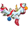 Decorated christmas fir branch under snow vector image vector image