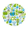 Ecological set with green icons on white vector image vector image