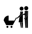Family couple with baby cart silhouette avatars