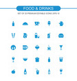 food and drinks blue icons vector image