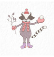 funny raccoon nursery art minimalist vector image vector image