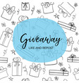 giveaway like and repost template for blogs vector image vector image