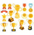 golden trophy and medal material icons vector image vector image