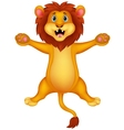Happy lion cartoon jumping vector image vector image