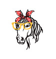 horse head in bandana and sunglasses silhouette vector image