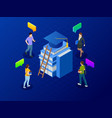 isometric banner for web education in global world vector image vector image