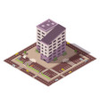 isometric high rise building and street vector image