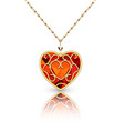 jewelry gold pendant heart made rugemstone vector image vector image