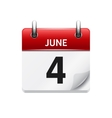 June 4 flat daily calendar icon Date and vector image vector image