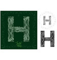 leaves alphabet letter h vector image