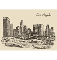 Los Angeles skyline California vintage engraved vector image vector image