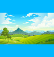 meadows with mountains landscape hill field vector image
