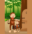 monkey father with his child vector image vector image