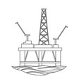 oil rig on the wateroil single icon in outline vector image