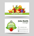 Organic food shop business card template vector image vector image