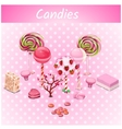 Original candy trees on a pink point background vector image vector image