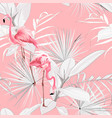 pink flamingo graphic palm leaves ficus and palm vector image vector image