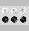 realistic protest round stickers with curled edge vector image