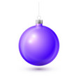 realistic violet christmas ball with silver ribbon vector image vector image