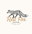 red fox badge forest ginger wild animal label or vector image vector image